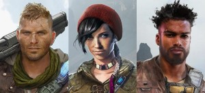The three new characters from Gears of War 4 (From L to R): J.D. Fenix (son of Marcus), Kait Diaz & Delmont Walker.